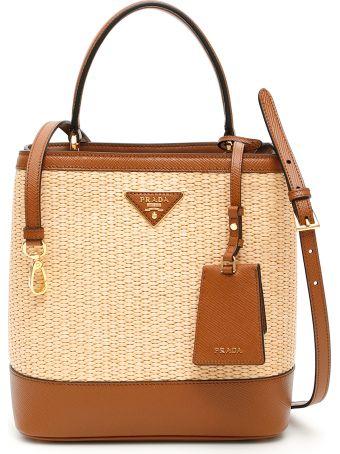 Prada Wicker And Saffiano Bag