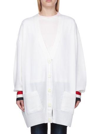 Thom Browne Rwb Cuff Oversized Cardigan