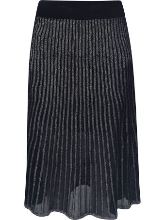 Balmain Plisse Metallic Skirt