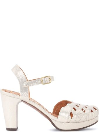 Chie Mihara Gaime Platinum Metallic Leather Heeled Sandal