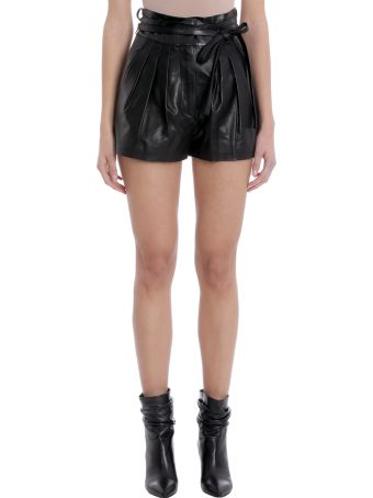 IRO Black Leather Shorts