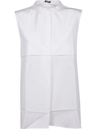 Jil Sander Navy Collarless Sleeveless Shirt