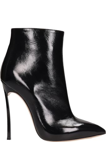 Casadei Blade Black Patent Leather Ankle Boots