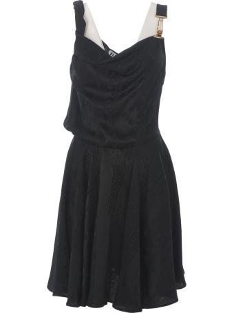Versus Versace Logo Printed Flared Dress
