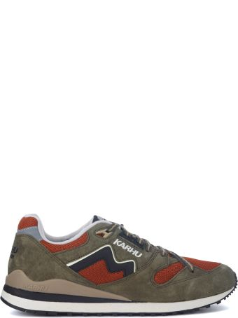 Karhu Synchron Classic Green Suede And Orange Mesh Sneakers