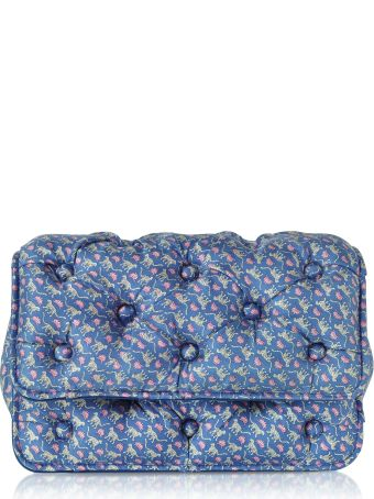 Benedetta Bruzziches Leopards Printed Blue Satin Silk Carmen Shoulder Strap