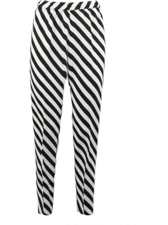Dries Van Noten Trousers In White And Black Viscose