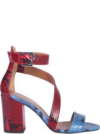 Paris Texas Python Effect Leather Sandals