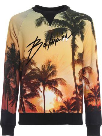 Balmain Palm Sunset Balmain Logo Print Sweatshirt Rh13281i029aaa
