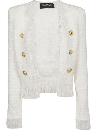 Balmain Tweed Shredded Button Jacket