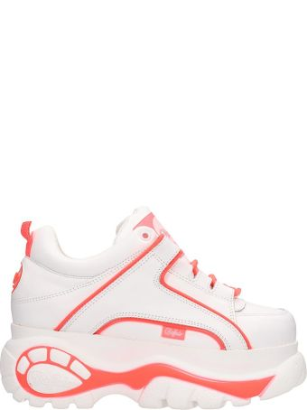 Buffalo Low White And Orange Classic Platform Sneakers