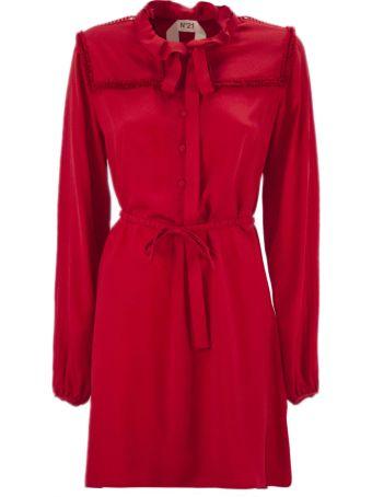N.21 Long Dress In Red Silk Blend