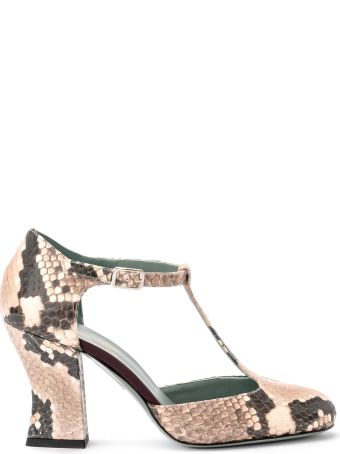 Paola D'Arcano Tabata Ivory Python Printed Leather Decolleté