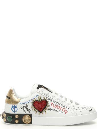 Dolce & Gabbana Portofino Sneakers With Sacred Heart