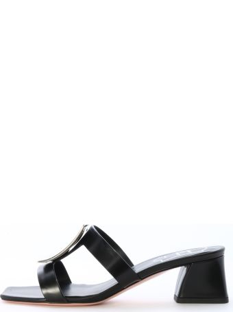 Roger Vivier Mule Sandal Black Leather