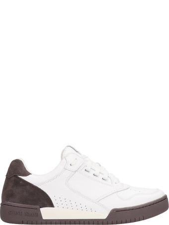 Stone Island Basket Low White Leather Sneakers
