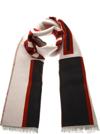 Gucci Ivory And Black Wool Scarf With Gucci Jacquard Stripe