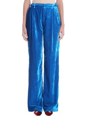 ATTICO Palazzo Blue Velvet Pants