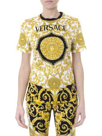 Versace Cotton T-shirt Gold Hibiscus Print Logo White/black/gold