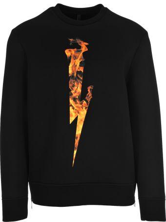 Neil Barrett Flames Logo Print Sweatshirt