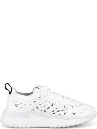 Tod's White Laser Cut Leather Sneakers Xxw80a0bf30kz4b001