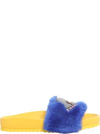 Mira Mikati Eco Pelliccia Sliders With Patch