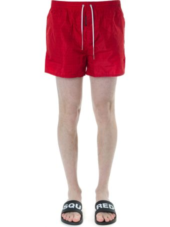 Dsquared2 Red Logo Print Swim Shorts In Technical Fabric