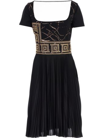 Versace Collection Dress S/s Square Neck W/pleated Skirt