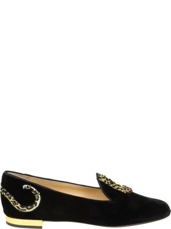 Charlotte Olympia Mocassino Velvet Leopard Detail