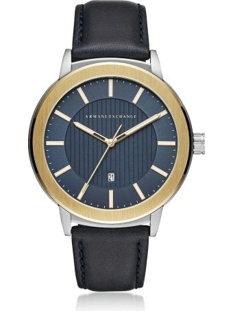 Armani Collezioni Armani Exchange Aix Blue Dial And Blue Leather Men's Watch