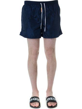 Dsquared2 Blue Logo Print Swim Shorts In Technical Fabric