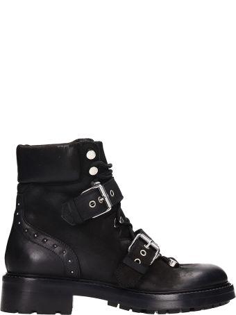 Elena Iachi Black Nabuk And Leather Ankle Boots