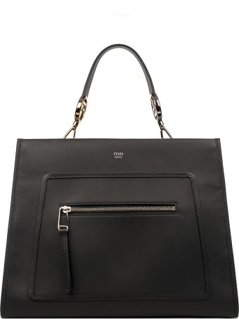 Fendi Black Large Runway Leather Top Handle Bag