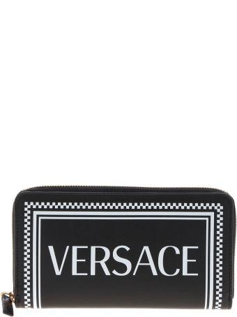 Versace Logo Print Zip Around Wallet