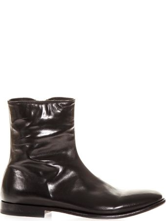 Alexander McQueen Black Polished  Boots In Leather