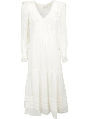 Sea Ruffled Detail Long-sleeved Dress