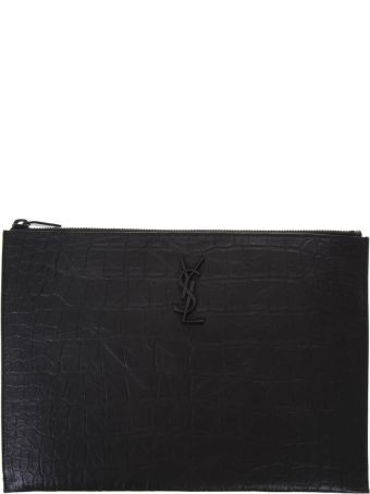 Saint Laurent Monogram Briefcase Crocodile Print