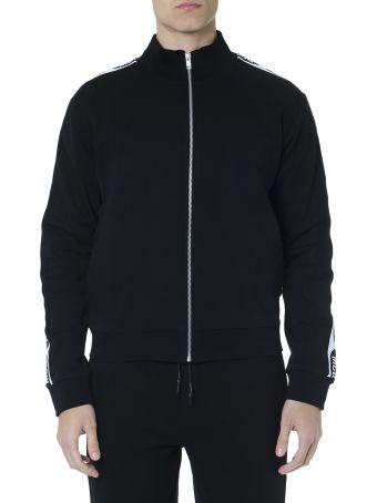 McQ Alexander McQueen Black Cotton Sweatshirt With Logo Stripes