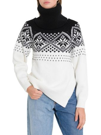 MONSE Turtleneck With Snow Flakes Motif And Cut Out