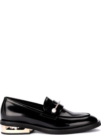 Coliac Abby Black Leather Loafer With Jewel