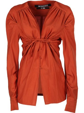 Jacquemus V-neck Ruched Blouse
