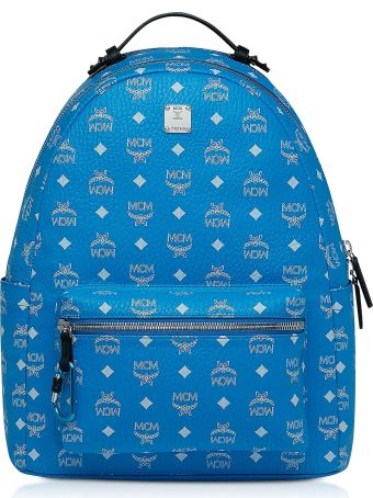 MCM Blue Stark Backpack W/white Logo Visetos 40
