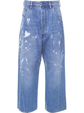 Acne Studios Blå Konst Painted-denim Oversized Jeans