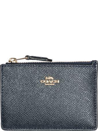 Coach  Genuine Leather Credit Card Case Holder Wallet Mini Skinny