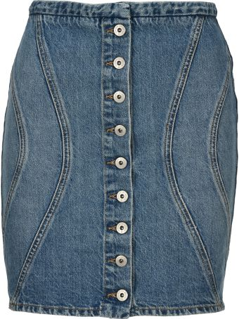 Marcelo Burlon Buttoned Denim Skirt