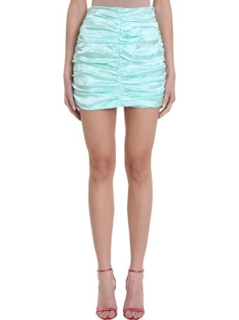 ATTICO Aquamarine Draped Floral Jacquard Mini Skirt