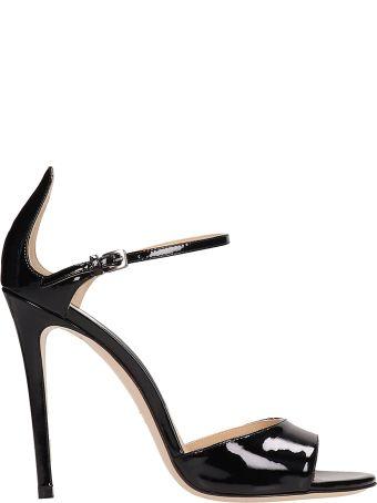 Dei Mille Black Patent Leather Sandals