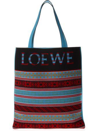 Loewe Multicolor Jaquard Print Knit & Leather Bag