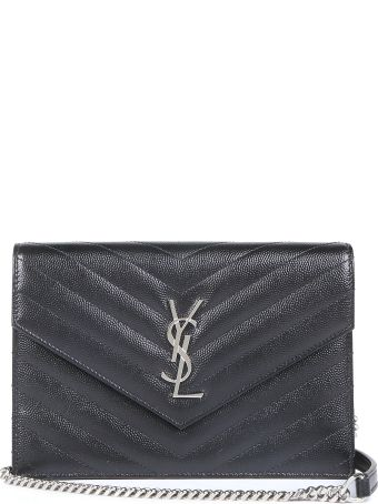 Saint Laurent Monogram Matellassè Grain De Poudre Chain Wallet