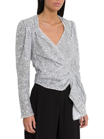ATTICO Sequined Silver Top
